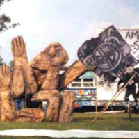 Andrew stilting with Bread and Puppet, design by Peter Schumann on Appalacian Tour, 1997