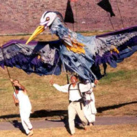 Blue Heron by Andrew with Barb Bowen and Annett Mateo, Islewilde Festival 2001; photo by Michelle Bates