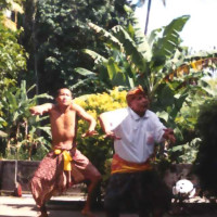 Learning Balinese mask dance with I Ketut Tutur, 1999