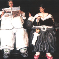 Puppet stage by Andrew, hand puppets by Adam Ende, Fatal Peril, Umo Ensemble, 2002; photo by Michelle Bates