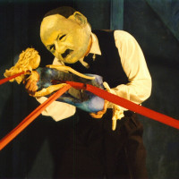 Andrew performing Company of Angels by Horse and Bamboo, design by Bob Frith, 2002
