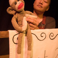 Sock monkey compere; photo by Amanda Crowther