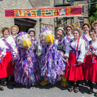 Dodos pose with Rivington Morris Dancers; photo by Craig Shaw