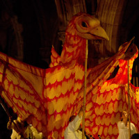 Giant bird puppets; photo by Craig Shaw