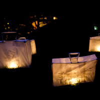 Suitcase lanterns; photo by Craig Shaw