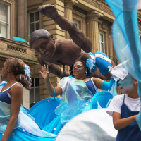 Dancing and swimming in the streets of Liverpool