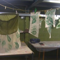 Testing hand stamp leaf prints--these will appear in costumes throughout the section.