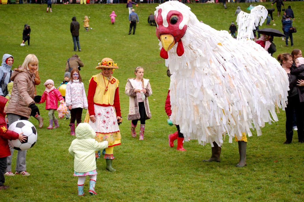 Giant chicken puppet hen wellies